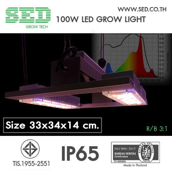 โคมไฟปลูกต้นไม้ ขนาด 100 วัตต์ SED Grow Light โคมไฟปลูกต้นไม้ ( 100 W LED Grow Light ) เหมาะกับพืชที่เน้นดอกและการแตกยอด