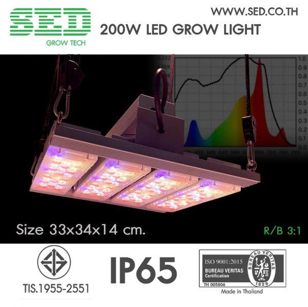 โคมไฟปลูกต้นไม้ ขนาด 200 วัตต์ SED Grow Light โคมไฟปลูกต้นไม้ ( 200 W LED Grow Light ) เหมาะกับพืชที่เน้นดอกและการแตกยอด